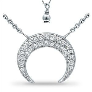 Giani Bernini .925 Zirconia Crescent Moon Necklace